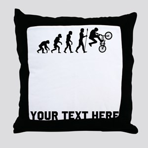 BMX Biker Evolution Throw Pillow